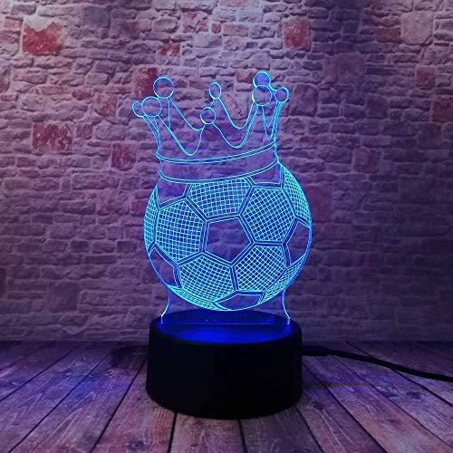 Lámpara De Ilusión De Fútbol De Corona De Luz Nocturna 3D 7 Colores Que Cambian El Control Remoto Toque UsbLámpara Decorativa De Juguete Con Pilas Para Regalos De Niños Niñas