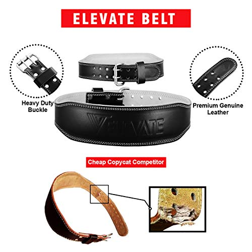Genuine Leather Weight Lifting Gym Belt Providing Back & Core Support For Peak Performance In Bodybuilding Crossfit Powerlifting Functional Heavy Strongman Strength Training + FREE Straps
