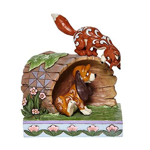 Jim Shore Disney Traditions 6008077 Figur Fuchs und Hund auf Holzstamm, 14,6 cm hoch