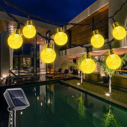 Hezbjiti Solar Garden Lights, 40 LEDs 25ft 8 Modes Outdoor Solar String Fairy Lights Waterproof Crystal Ball Solar Powered Lights for Garden Gazebo Yard Lawn Indoor Home Patio Wedding Party Backdrops