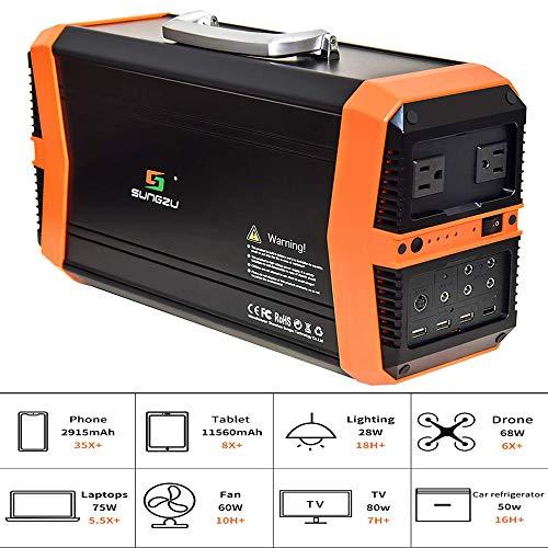 TIANQING draagbare 500 W wisselstroom-powerbank-generator, geladen via zonnepaneel 14,8 V/39 Ah (2 DC-uitgang) externe accu, compatibel met Mac Book, HP