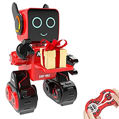 Robot Toy for Kids, Intelligent Interactive Remote Control Robot with Built-in Piggy Bank Educational Robotic Kit Walks Sings and Dance for Boys and Girls Birthday (Red)