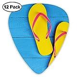 Chanclas amarillas y azules en el muelle de madera Viaje alegre de vacaciones Relax Imagen Azul rosa (paquete de 12)
