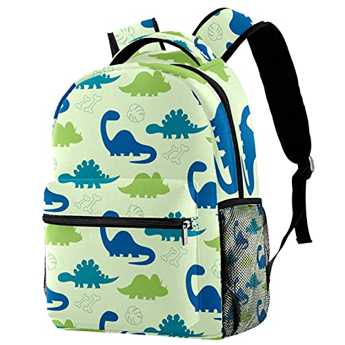 Backpack Kids School Bag Backpack Blue And Green Dinosaur Pattern Bookbags Twilled Cloth Backpack Casual for Girls Boys