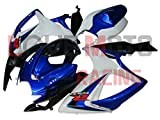 LoveMoto Carenados para GSX-R600 GSX-R750 K6 2006 2007 06 07 GSXR 600 750 Kit de carenado de Material plástico ABS Moldeado por inyección para Moto Blanco Azul