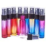 BENECREAT 9 Packs 10ml Rainbow Color Glass Spray Bottle Refillable Fine Mist Spray Bottle for Perfume Essential Oil