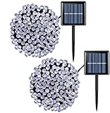 Solar String Lights Outdoor Waterproof, 2 Pack Each 33ft 100 LED Solar Christmas Lights White, 8 Modes Solar Powered Twinkle Lights for Garden Yard Patio Party Tree Fence Holiday Wedding Decoration