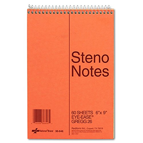 NATIONAL Brown Board Cover Steno Notebook, Gregg, Green Paper, 6 x 9 Inches, 60 Sheets (36646)