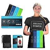 Heldenpower Sport Fitness Band – Set aus 4 Latex Fitnessbänder, Videoanleitung, Tasche - Fit von...