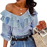 Blusa Mujer Top de Verano con Medias Mangas Volantes Cuello en V Rayas Blanco y Azul Casual Elegante (Azul, M)