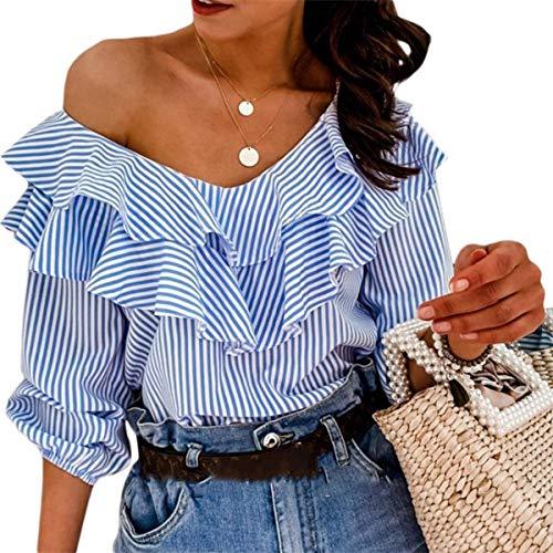 Blusa Mujer Top de Verano con Medias Mangas Volantes Cuello en V Rayas Blanco y Azul Casual Elegante (Azul, XL)