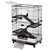 Pawhut 3 Tier Rolling Small Animal Rabbit Cage Guinea Pig Chinchillas Hutch Pet