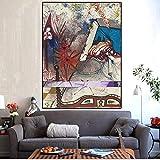 Surrealismo Salvador Dali abstracto mundo espiritual pintura al óleo lienzo carteles impresiones Cuadros cuadros artísticos de pared para sala de estar 60x90 CM (sin marco)