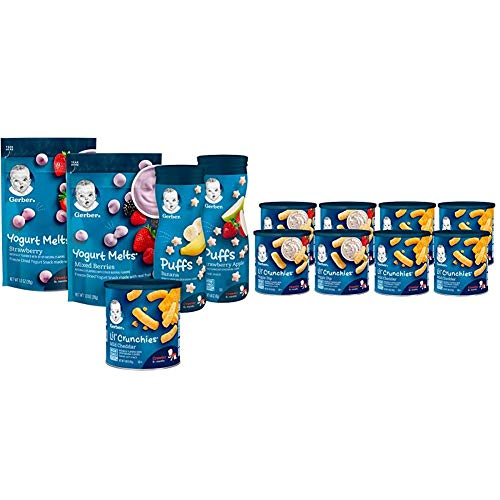 Gerber Up Age Snacks Variety Pack - Puffs, Yogurt Melts & Lil Crunchies, 9Count & Lil Crunchies, Mild Cheddar & Veggie Dip, 8 Count