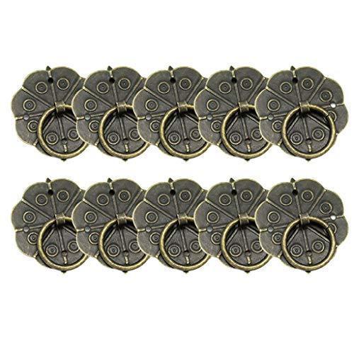 ZJL220 10 pomos de bronce vintage para cajones con tornillos