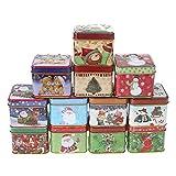 Unique Welinks - 12 scatole di latta natalizie per caramelle, dolcetti, biscotti, cioccolatini, caramelle, decorazioni natalizie A