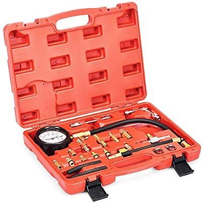 Goplus 0-140PSI Fuel Injection Pressure Tester Kit, Professional Pressure Gauge Test Set w/Convenient Case for Trucks, Cars, ATVs (10 Bar)