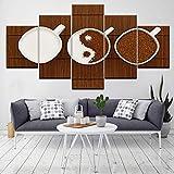 HOMEDCR Cuadros modulares de Las Ilustraciones de la Pared de la Pintura de la Lona para la Sala de Estar 5 Panel/Set Impreso en la Pared de los Granos de café