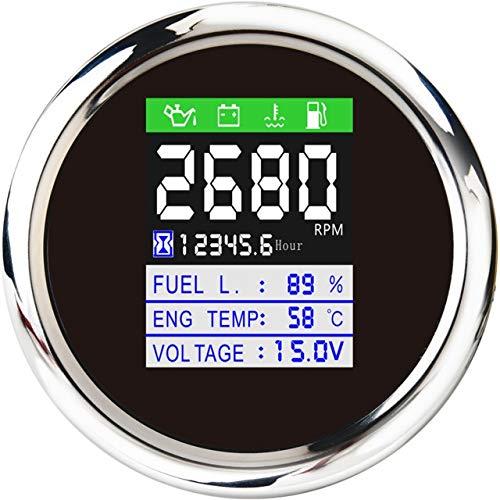 GUOCAO Universal 85mm Tachometer CAN-Bus-Bus-Bus-Multifunktions-Digital-Digital-Öldruckspannung Water Temp-Kraftstoff-Ebene-Meter Gesamtstunden mit Alarm Spur (Color : Black)