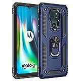 KERUN Cover per Motorola Moto G9 Play/Moto E7 Plus Cover con 360° Regolabile Anello Magnetica Supporto Ring, Doppio Strato PC+TPU Custodia Protettiva Bumper con Supporto Magnetico Auto. Blu Navy
