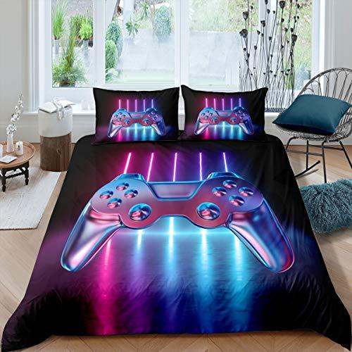 Loussiesd Gamepad Bettwäsche-Set Jungen Teenager 135x200cm Modern Game Bettbezug, Videospiel Betten für Kinder Mädchen, Neuheit Gradient Action Buttons Dekor Mikrofaser Bettwäsche