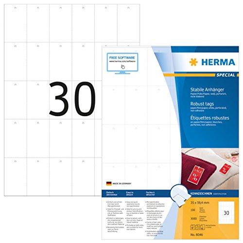 HERMA 8046 Stabile Anhänger DIN A4 (35 x 59,4 mm, 100 Blatt, Papier/Folie/Papier-Verbund) perforiert, bedruckbar, nicht klebende Preisanhänger, 3.000 Produktanhänger, weiß