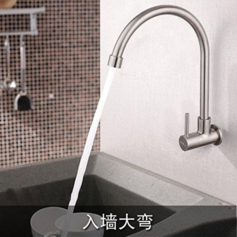 304 Edelstahl Mixer mit Erkltung gebürstetem Edelstahl Spüle Wasserhahn Tippen