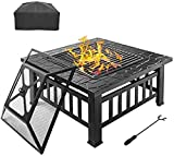 """Fire Pit Grill, 32"""" Outdoor Fire Pit with Barbecue Cooking Grill and Rain Cover Square Metal Wood Burning Pit Backyard Patio Terrace"""