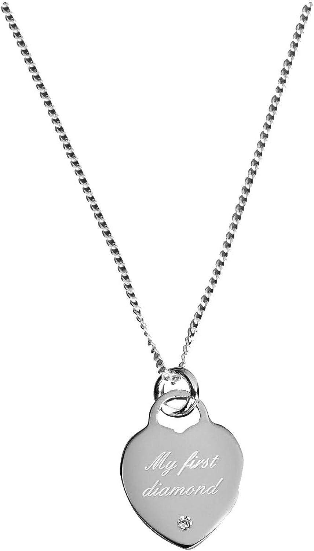 Orton West Womens My First Diamond Pendant  Silver