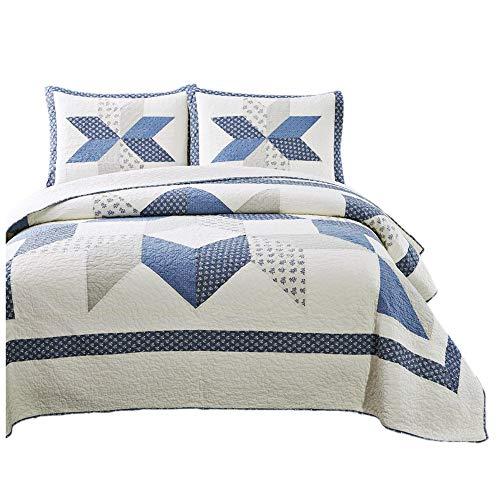 KASENTEX Dekorative Tagesdecke aus 100 prozent Baumwolle mit floralem Patchwork-Design, hypoallergen, weich & übergroß für eine bessere Abdeckung, Full/Queen 90 x 96 cm, Rautenmotiv blau/elfenbein