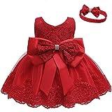 LZH Kleinkind Baby Mädchen Kleid Geburtstag Bowknot Hochzeit Tutu Prinzessin Blume Spitzenkleid, 8348-red, 6-9Monate
