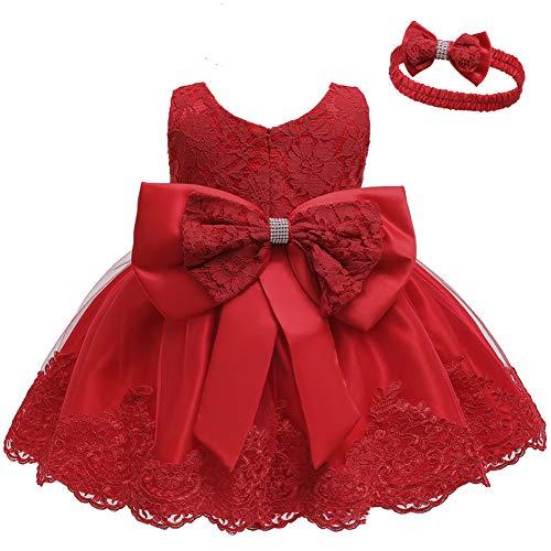 LZH Kleinkind Baby Mädchen Kleid Geburtstag Bowknot Hochzeit Tutu Prinzessin Blume Spitzenkleid, 8348-red, 0-5Monate