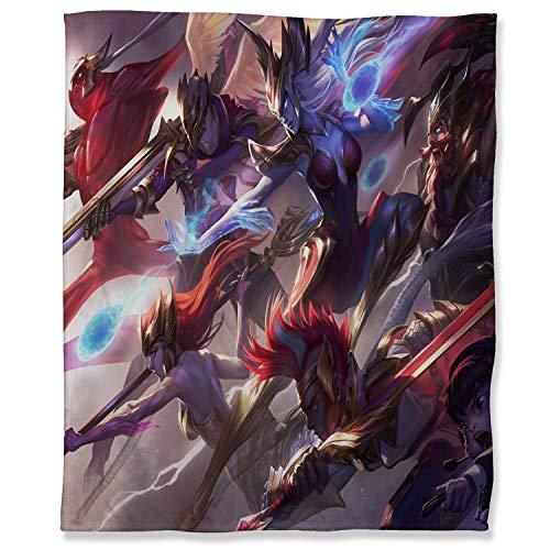 ARYAGO Manta de felpa de 180 x 230 cm, manta de felpa suave para sofá, SKT T1 Ekko Jhin Nami Olaf Syndra Zac