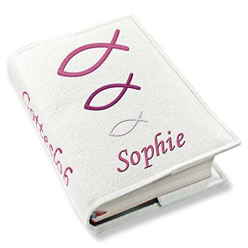Gotteslob Gotteslobhülle Hülle Fische pink Filz mit Namen bestickt Einband Umschlag personalisierte Gesangbuchhülle, Farbe:weiß