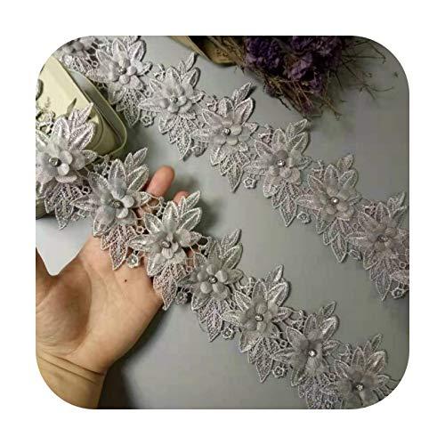 Hopereo 1 yarda gris diamante flor encaje borde bordado cinta tela costura suministros artesana para disfraz sombrero decoracin nuevo