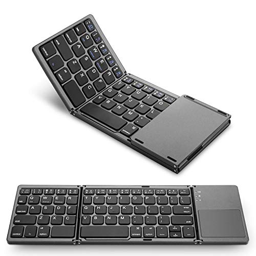 M-MASTER Foldable Bluetooth Keyboard, BT Rechargable Portable Wireless Folding Keyboard with Touchpad for iOS,Windows,Android Tablet & Cell Phones