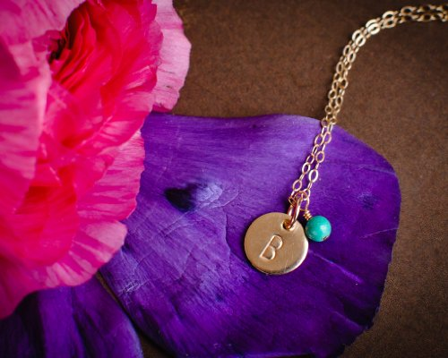 EFYTAL Initial Necklace, Tiny Gold Filled Personalized Custom Dainty Disc with Birth Month Charm