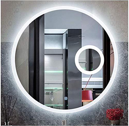 70 cm LED Luz Interruptor Iluminado Baño/Dormitorio, Ronda HD Ampliación Retroiluminado Vanity Mirror, Anti-Niebla Dimmable Mirara Grande Mirm Maquillaje con luz