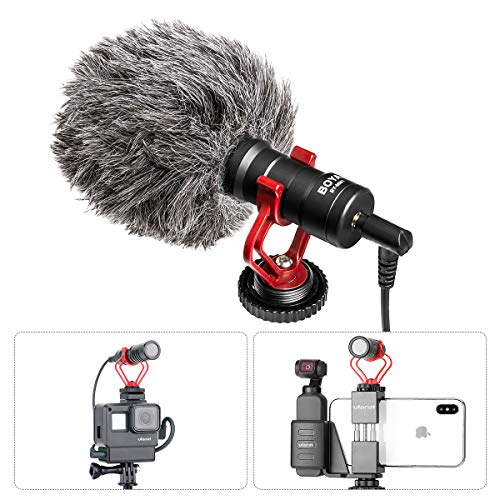 BOYA by-MM1 Vlog Video Microphone with Shock Mount Deadcat Windscreen for iPhone OnePlus 7 Pro Samsung Nikon Canon Sony A6400 DSLR Cameras DJI OSMO Action Mobile 3 Pocket Moza Gimbal Gopro Vlogging