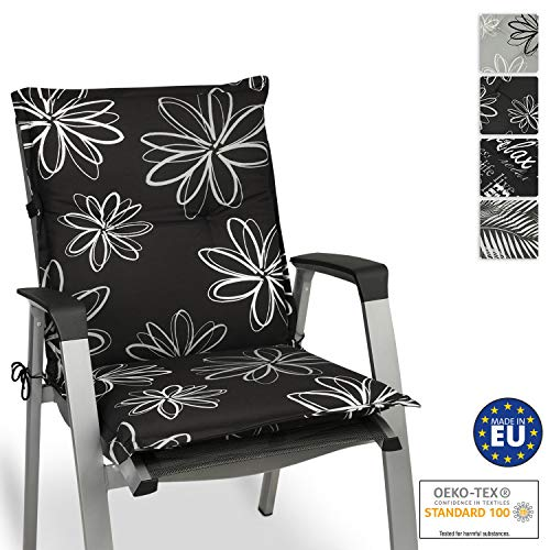 Beautissu Flores Niedriglehner Auflage für Gartenstuhl – Sitzpolster 100x50 cm Polsterauflage UV-Lichtecht – Stuhlauflage schwarz mit Blumen
