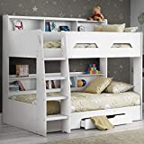 Wooden Bunk Bed with Underbed Storage Drawer, Happy Beds Orion Oak Wood Modern Twin Sleeper