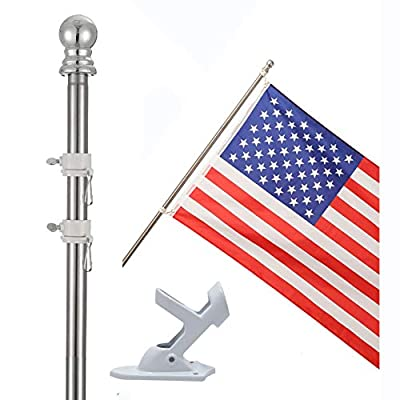 """COCOHOME 5FT Flag Pole with Bracket - 1"""" Professional Tangle-Free Spinning Wall Mount Flagpole Kit for 3x5 US Marine Flag, Outdoor House Wall Truck Decoration. (Pole&Holder, NO Flag)"""