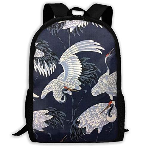 Hangdachang Japanese Style School Backpack Crane Bookbag Travel Bag Casual for Teenagers Boys Girls