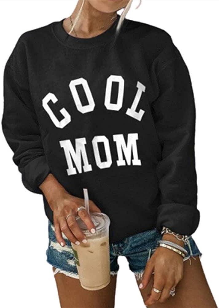 Women Crew Neck Sweatshirt Mom Letter Pattern Long Sleeve Sweatshirts Casual Pullover Tops