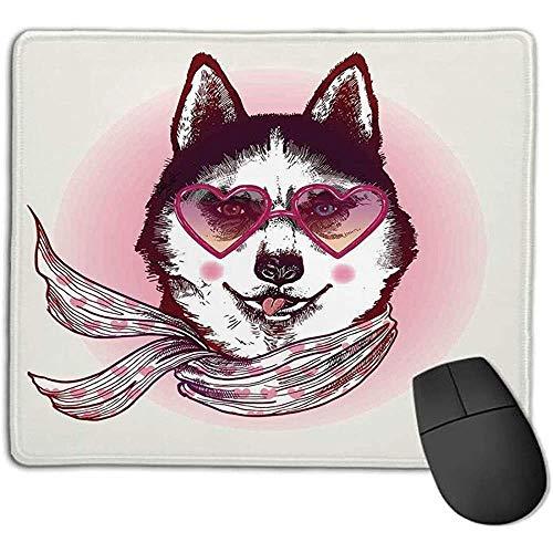 Muismat cartoon decor hipster husky hond met hartvormige zonnebrillen en sjaal mode dier kunstdruk roze crème zwart c