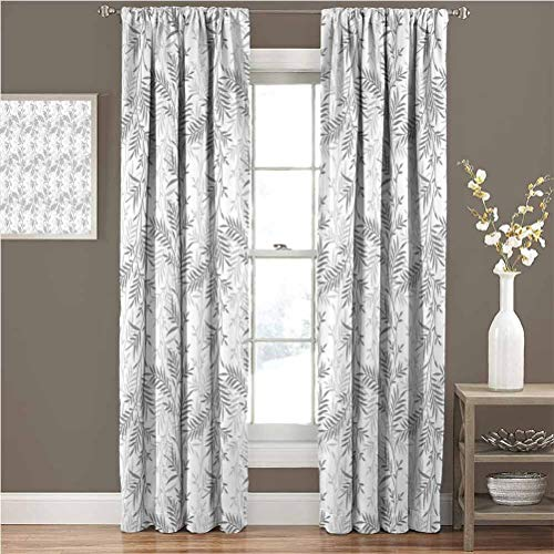 Grey Best Home Fashion Thermal Insulated Blackout Curtains Fancy Swirling Branch and Leave Patterns Antique Style Modern Decorative Luxury Print Home Effectively Cut Off Light W84xL84 Gray White
