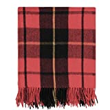Wool Throw Blanket Scottish Tartan Plaid Design, Warm, Thick, Washable, Great for Camping, Outdoors, Sporting Events, (62 x 69 Inches_ Wallace)