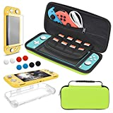 Carrying Case Plus TPU Case Cover and Screen Protector Compatible with Nintendo Switch Lite, 4 in 1 Accessories Kit, Portable Carrier Travel Bag Case Comes with 8 Game Card Slots for Switch Lite 2019