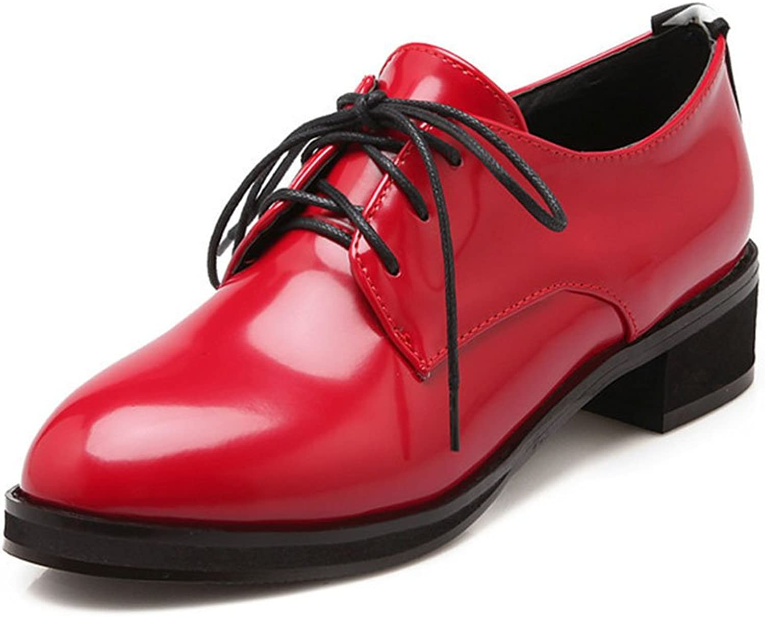CHFSO Women's Elegant Pointed Toe Lace Up Patent Leather Flats Oxfords shoes