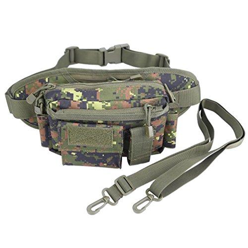 OLEADER Taktische Taille Pack Military Fanny Packs Hüftgürtel Tasche Beutel Werkzeug Organizer für Outdoor Wandern Klettern Angeln Jagd Bum Bag (Wüste digital) (Urwald)